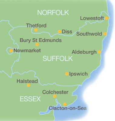 Map of area covered by Domextra water softeners of Ipswich - Suffolk, Norfolk & Essex